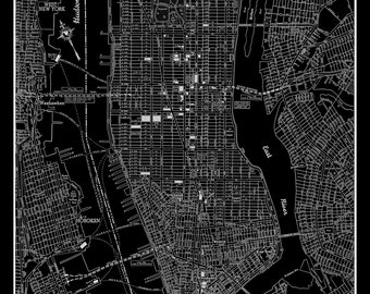 New York City Manhattan Street Map Vintage Black  Print Poster