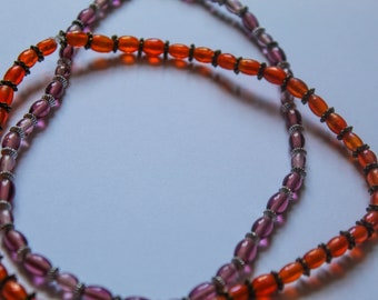 Orange and Purple Glass Chockers
