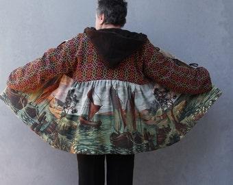 Segeln Weg Mantel nautische Kleidung mit Hoodie Vintage Landschaft Gobelin Stoff Plus Größe Kleidung US Größe 16/18 EU-Größe 46/48