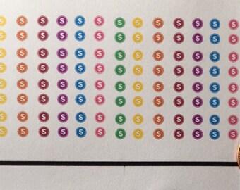 Tiny dollar sign stickers