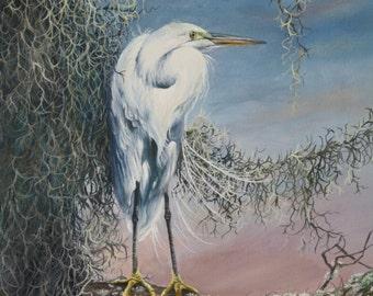 Original Oil Painting, Florida Wildlife Art-Snowy Egret-20x24