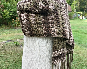 Earth Tone Shawl Crochet Shawl or Wide Scarf Brown Green Taupe Fringe Stole
