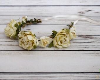 Handcrafted Romantic Ivory Rose Flower Crown - Wedding Garland - Bridal Ivory Headpiece - Adult Vintage Cream Headband - Ivory Bridesmaid