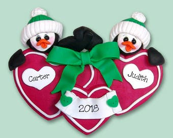Penguin / Couples / Twins / Friends HANDMADE POLYMER CLAY Personalized Couples Christmas Ornament - Limited Edition