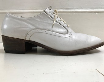 70s white leather brogue, cuban size UK9 /EU42 /US11