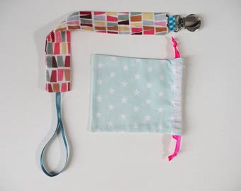 """""""Colorful"""" fabric pacifier clip"""