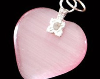 27mm Baby Pink Cats Eye Fiber Optic Heart Pendant With Silver Bail