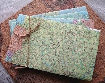 10 Handmade map envelopes, handmade world map envelopes, airmail map envelopes