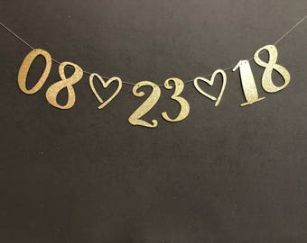 Save the date Banner , Bachelorette party banner, Glitter Banners, Bachelorette Decorations, Bridal Shower Decorations, Wedding Banners