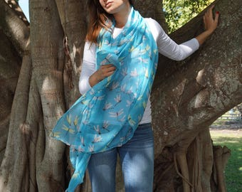 Womens Scarves / Blue Scarf / Mothers Day Gift / Spring Summer scarf / Infinity Scarves / Mom Gift / Fashion Accessories / Gifts For Her