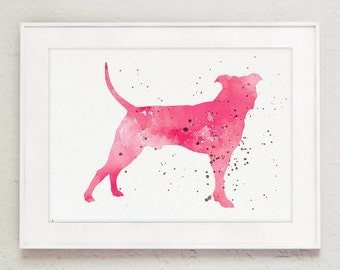Baby Girl Nursery Wall Painting, Pit Bull Kids Nursery Decor, Abstract Dog Watercolor Painting, Colorful Animal Pitbull Poster Birthday Gift