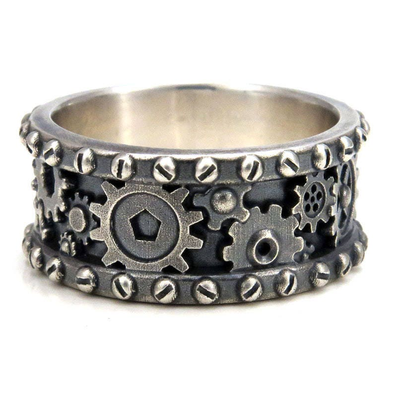 Distressed Silver Gear Ring - Steampunk Industrial Cogs and Rivets ...