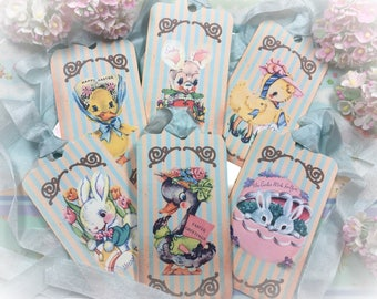 9 EASTER TAGS and RIBBONS Set Tags/Card Vintage Retro Gift Bag Art Shabby Chic Journal Scrapbook Spring Decor Bunny Duck Rabbit Bunnies Eggs