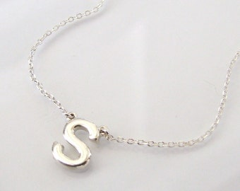 YOUR Initial Necklace - Ultra Feminine, Sterling Silver Initial, Letter Necklace
