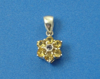 Citrine Iolite Sterling Silver Petite Flower Pendant Jewelry Supply