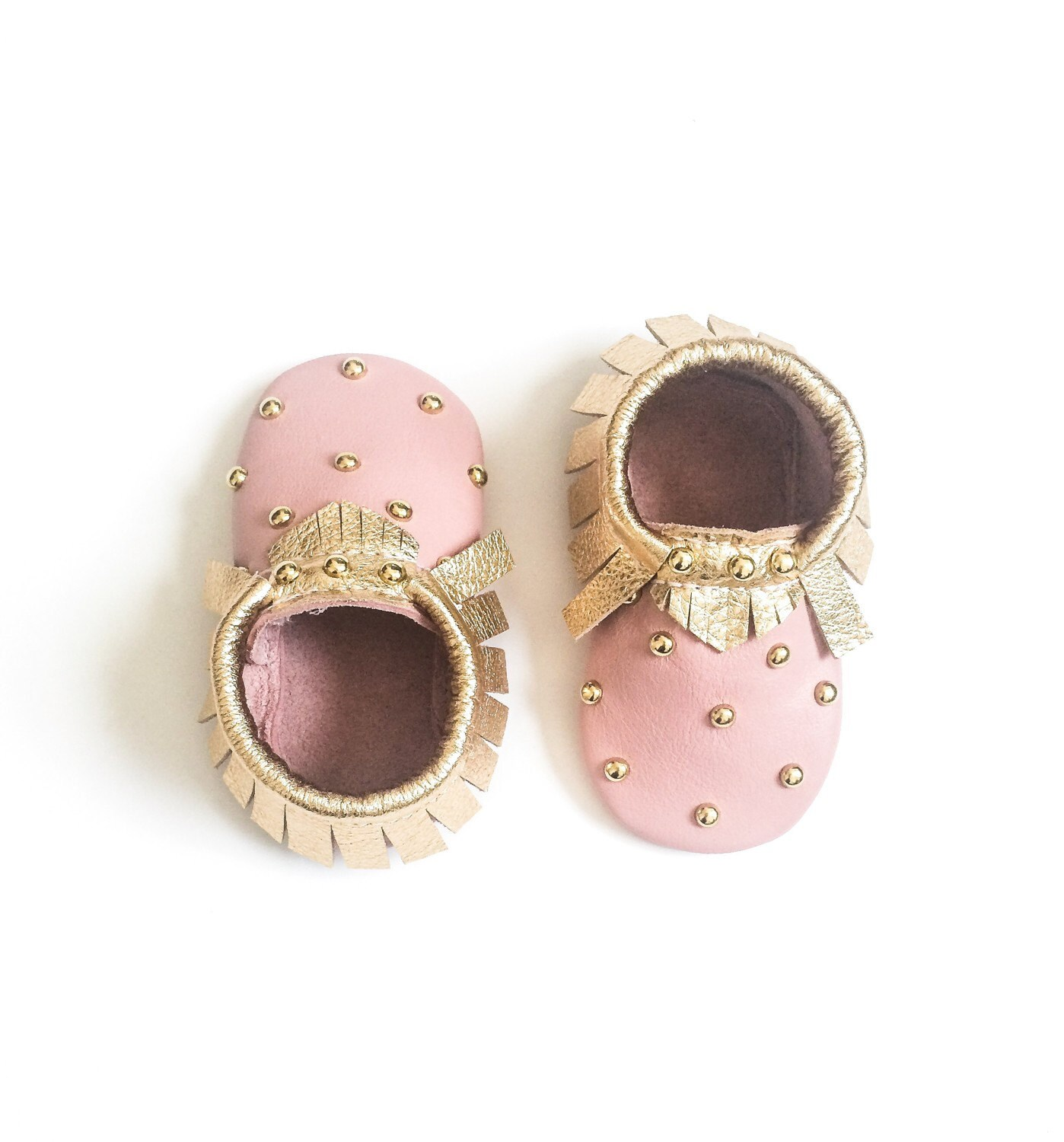 Baby Moccasins Toddler Moccasins Pink & Gold Studded Baby