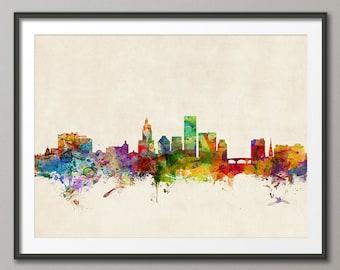 Providence Skyline, Providence Rhode Island Cityscape Art Print (213)