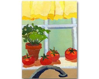 The Kitchen Window - NOSTALGIA CARD or Kitchen Print - Share the Memories Collection - Vintage Kitchen Retro Art Card (CMEM2013044)