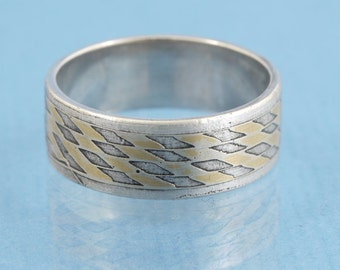Silver gold Solitaire ring Mokume Gane // handmade wood grain in metal // single piece // size 9