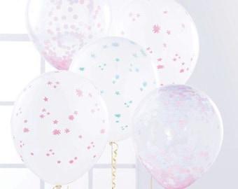 Confetti Balloons Kit Flower Balloons Set of 5 Balloons Balloon Bouquet Confetti Balloon DIY Kit Pink Balloons Pink Flowers Gender Reveal