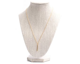 Vertical bar gold plated charm necklace
