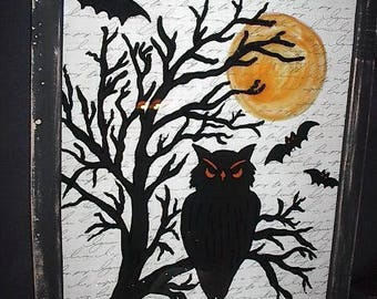 HALLOWEEN OWL - FRAMED - REvERSE PAiNTED SiLHOUETTE