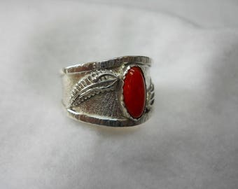 Italian Red Coral Set In Sterling Silver For The Guy's