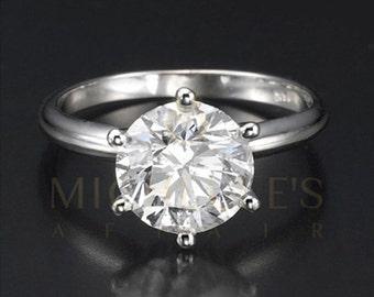 Diamond Anniversary Ring 14 Karat White Gold 1 3/4 Carat Certified Round Cut F SI2 Women Diamond Ring
