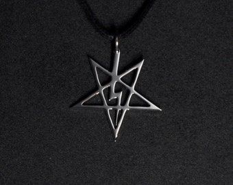 Anton LaVey Sigil Pendant Necklace Inverted Pentagram with Lightning Bolt Church of Satan Logo Satanic Symbol Satanism Satan