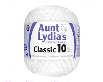 WHITE Aunt Lydia's Crochet Thread. Classic 10 Crochet thread 400yds. Size 10. Tatting thread. Doily thread. 0 Lace, bedspread weight <