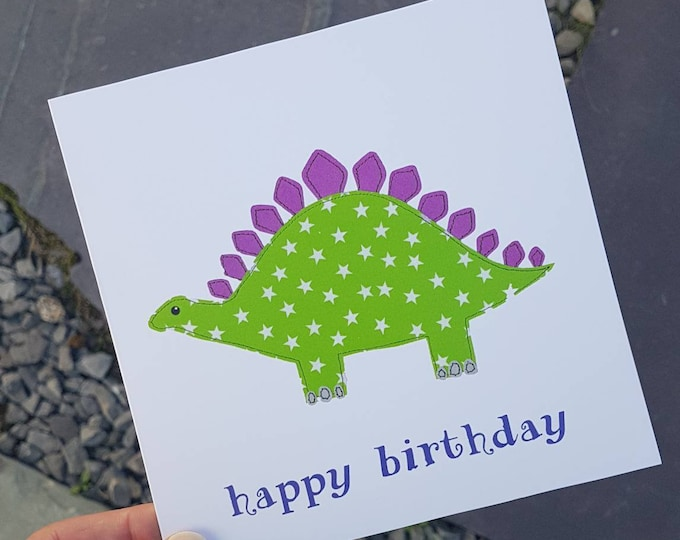 Green dinosaur 'Happy Birthday' Greetings Card • Printed from Original stitched art • 6 inch square with brown kraft envelope •