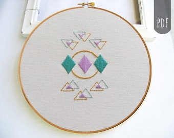 PDF Hand Embroidery Pattern Geometric Boho Diamond Triangle