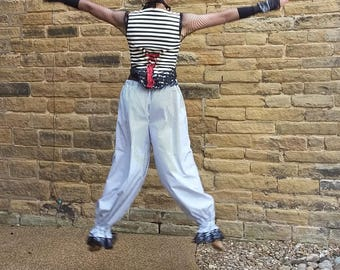 Stripe pantaloons, clown cosplay, tribal belly dance costume, Steampunk pants, boho festival wear, pirate stripe bloomers. Gift for her S/M