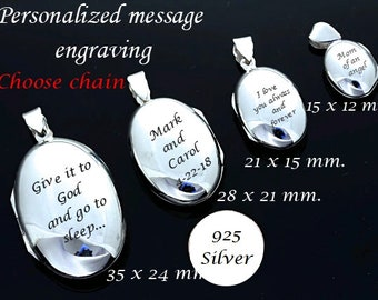 Sterling silver Oval Locket necklace. CHOOSE Locket size and chain. Personalized Message engraving. Engraved photo locket