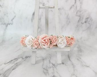 Flower crown wedding - white and pink headpiece - white blush flower bridal hair accessories - floral hair wreaths for girls - garland