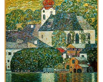 GREAT SALE The Church in Unterach inspired by Art Nouveau Artist Gustav Klimt Counted Cross Stitch Chart