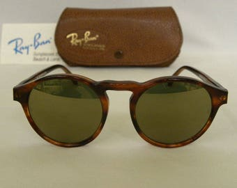 New Vintage B&L Ray Ban Gatsby Style 1 Round Mock Tortoise Diamond Hard  Sunglasses NOS