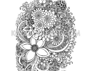 instant digital download - adult coloring page -  flower bouquet