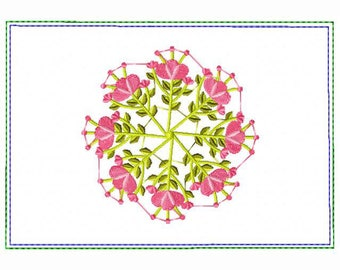 Circle of Flower Small Money Purse 03 - In The Hoop Machine Embroidery Design