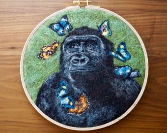 Wool painting of gorilla and African butterflies - needle felted gorilla