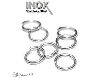 20 rings 10mm open simple stainless steel 1.4 mm Lot M01733