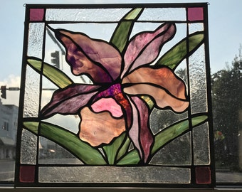 Orchid Pink and Purple Stained Glass Flower Panel Sun Catcher