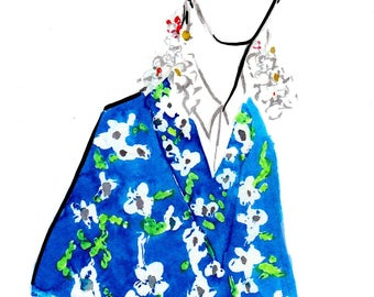Delpozo Spring 2017 05 Art Print Fashion Illustration, Fashion Sketch, Fashion Art, Watercolour Illustration