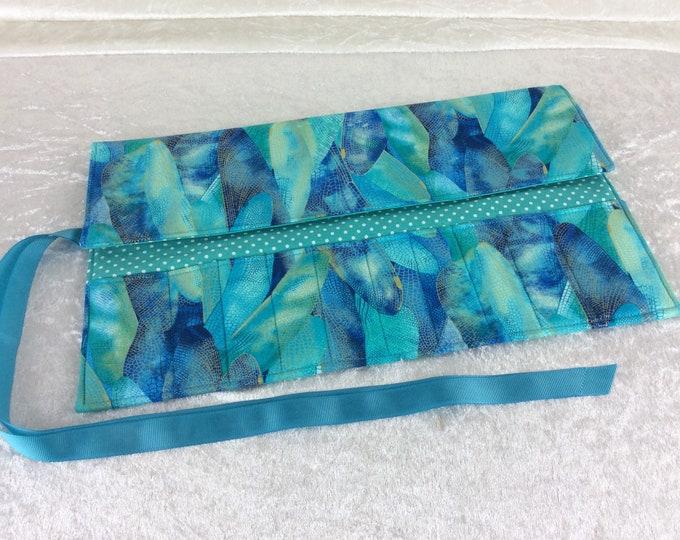 Handmade Makeup Pen Pencil Roll Crochet Knitting needles tool holder case Dragonfly Wings