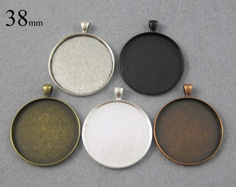 25 Pieces 38mm Round Pendant Tray, 38mm Round Blank Pendant Bezel Setting  - Great to Match Glass and Epoxy