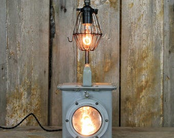 Industrial Desk Lamp - Steampunk Table Lamp - Vintage Navy - Coast Guard Lantern #135