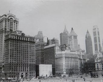 Outstanding 1950's New York Skyline Central Park Snapshot Photo - Free Shipping