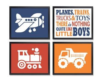 Transportation Plane Train Truck Wall Art Boy's Room Decor Navy red orange Printable 8x10 JPG Files Instant Download like little boys quote