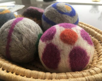 Assorted Eco-friendly Wool Dryer Balls - Laundry Ball - 100% Felted Wool - Essential Oil or Unscented - 5 pack
