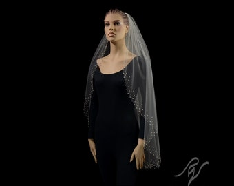 Bridal Wedding Veil with Gradient Pearl Edge, Made With SWAROVSKI ELEMENTS